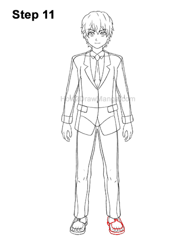 How to Draw a Manga Anime Boy Full Body School Uniform Seifuku Front 11