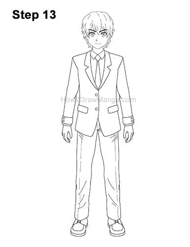 How to Draw a Manga Anime Boy Full Body School Uniform Seifuku Front 13