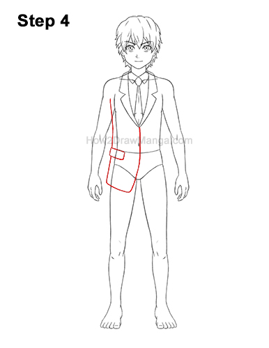 How to Draw a Manga Anime Boy Full Body School Uniform Seifuku Front 4