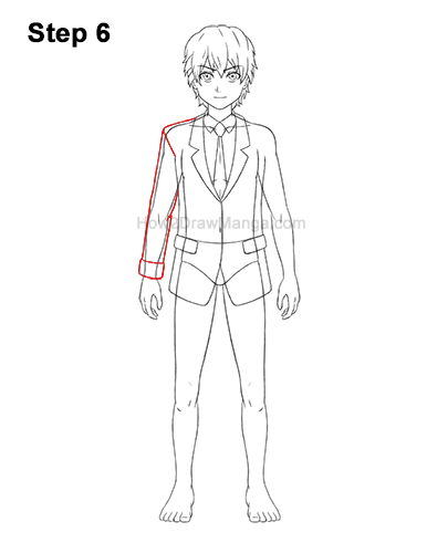 How to Draw a Manga Anime Boy Full Body School Uniform Seifuku Front 6
