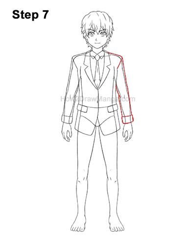 How to Draw a Manga Anime Boy Full Body School Uniform Seifuku Front 7
