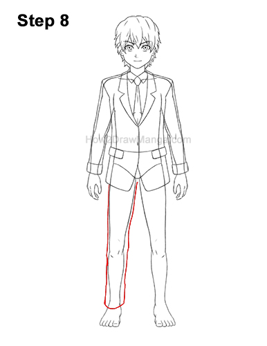 How to Draw a Manga Anime Boy Full Body School Uniform Seifuku Front 8
