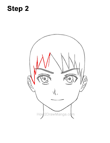 How to Draw Manga Boy Spiky Hair Front View Anime Chibi Kawaii 2