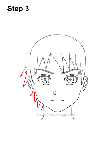How to Draw Manga Boy Spiky Hair Front View Anime Chibi Kawaii 3