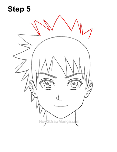 How to Draw Manga Boy Spiky Hair Front View Anime Chibi Kawaii 5