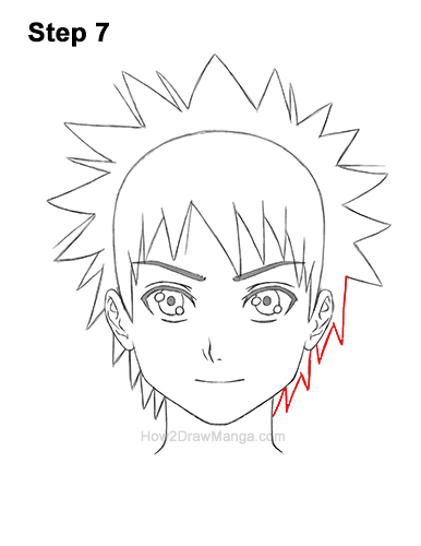 How to Draw Manga Boy Spiky Hair Front View Anime Chibi Kawaii 7