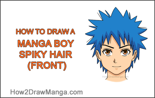 How to Draw Manga Boy Spiky Hair Front View Anime Chibi Kawaii