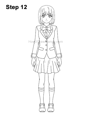 How to Draw a Manga Anime Girl Full Body Front School Uniform Seifuku 12