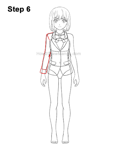 How to Draw a Manga Anime Girl Full Body Front School Uniform Seifuku 6