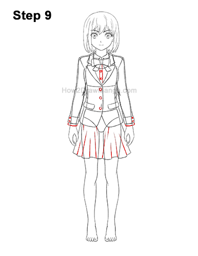 How to Draw a Manga Anime Girl Full Body Front School Uniform Seifuku 9