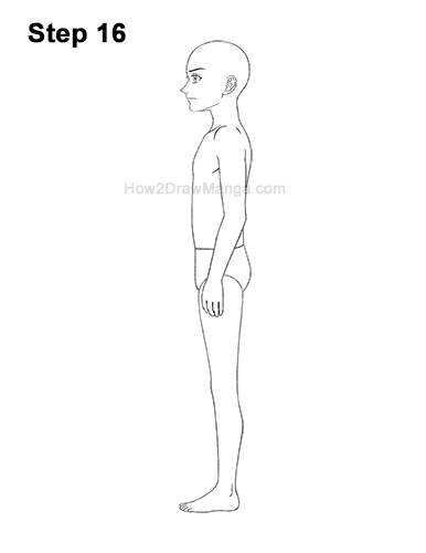 How to Draw a Basic Manga Boy Male Man Full Body Side View Anime 16