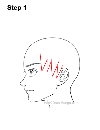 How to Draw Manga Boy Spiky Hair Side View Anime Chibi Kawaii 1