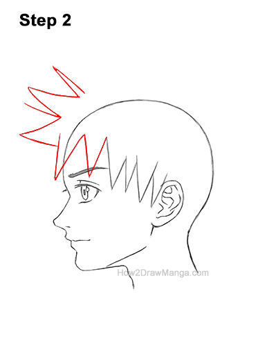 How to Draw Manga Boy Spiky Hair Side View Anime Chibi Kawaii 2