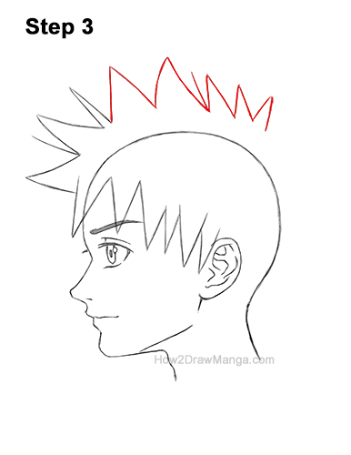 How to Draw Manga Boy Spiky Hair Side View Anime Chibi Kawaii 3