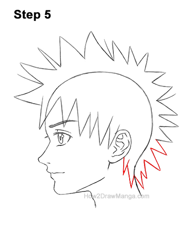 How to Draw Manga Boy Spiky Hair Side View Anime Chibi Kawaii 5