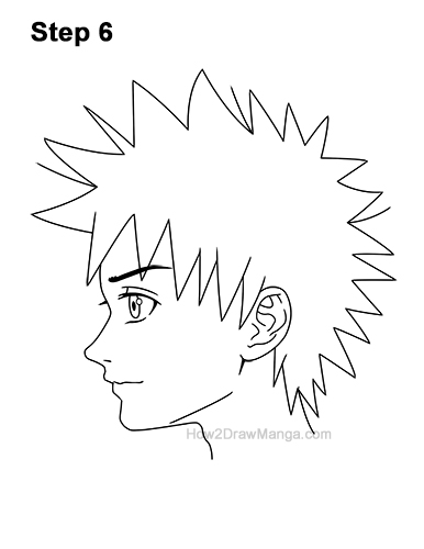 How to Draw Manga Boy Spiky Hair Side View Anime Chibi Kawaii 6
