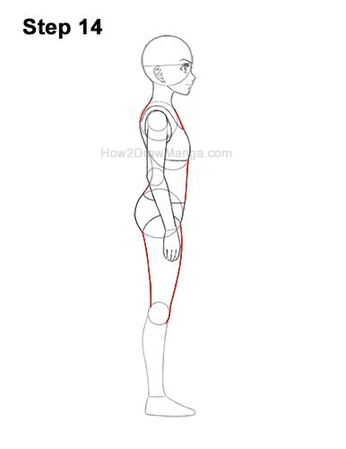 How to Draw a Basic Manga Girl Female Woman Full Body Side View Anime 14