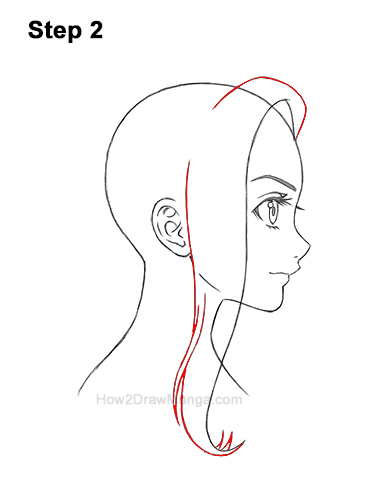 How to Draw Manga Girl Long Hair Side View Profile Anime Chibi Kawaii 2