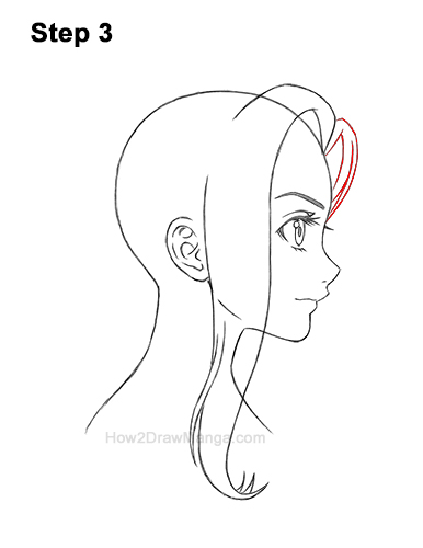 How to Draw Manga Girl Long Hair Side View Profile Anime Chibi Kawaii 3