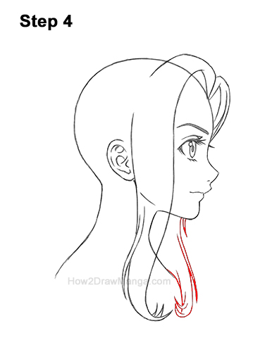 How to Draw Manga Girl Long Hair Side View Profile Anime Chibi Kawaii 4