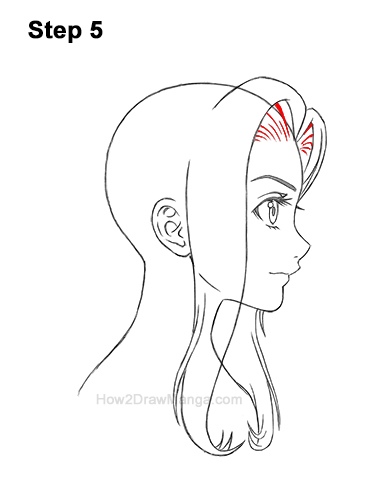 How to Draw Manga Girl Long Hair Side View Profile Anime Chibi Kawaii 5