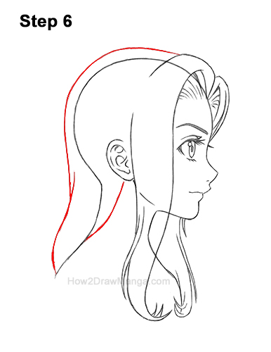 How to Draw Manga Girl Long Hair Side View Profile Anime Chibi Kawaii 6