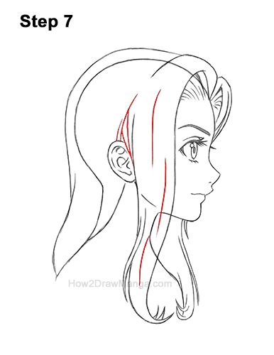 How to Draw Manga Girl Long Hair Side View Profile Anime Chibi Kawaii 7
