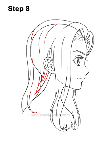 How to Draw Manga Girl Long Hair Side View Profile Anime Chibi Kawaii 8