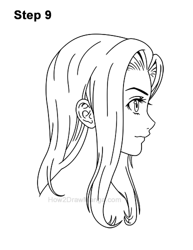 How to Draw Manga Girl Long Hair Side View Profile Anime Chibi Kawaii 9