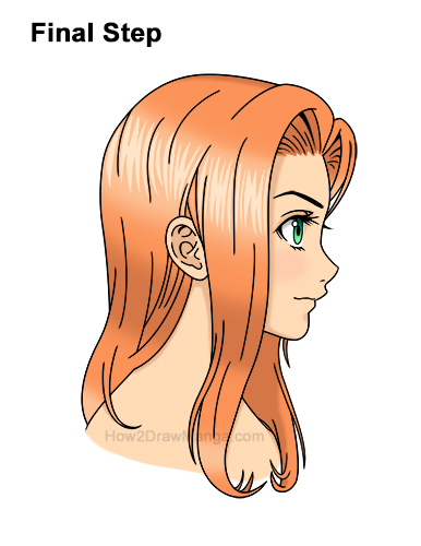 How to Draw Manga Girl Long Hair Side View Profile Anime Chibi Kawaii Last