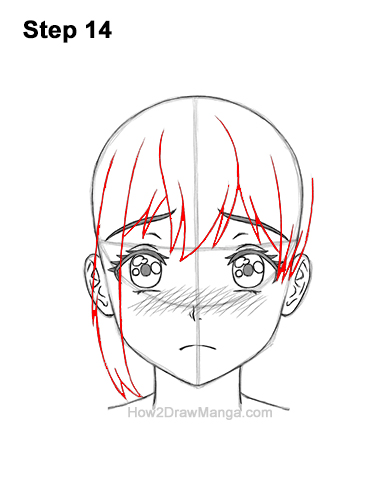 How to Draw a Manga Girl Sad Depressed Face Anime Short Hair 14