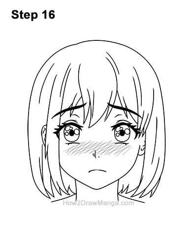 How to Draw a Manga Girl Sad Depressed Face Anime Short Hair 16