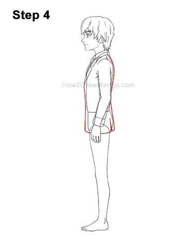 How to Draw a Manga Anime Boy Full Body School Uniform Seifuku Side View 4