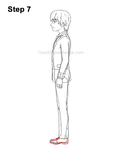 How to Draw a Manga Anime Boy Full Body School Uniform Seifuku Side View 7