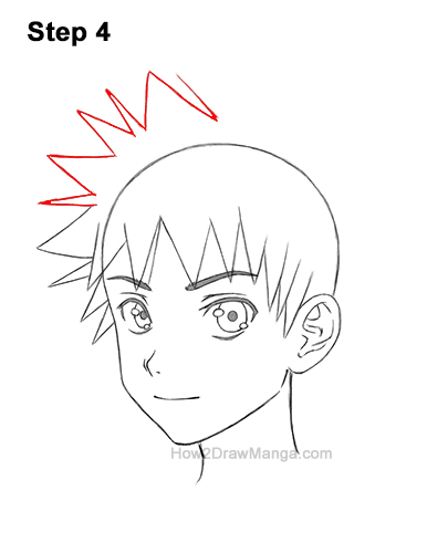 How to Draw Manga Boy Male Man Spiky Hair Three Quarter 3/4 View Anime 4
