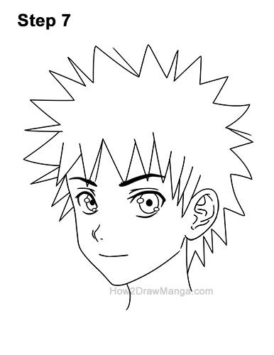 How to Draw Manga Boy Male Man Spiky Hair Three Quarter 3/4 View Anime 7