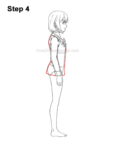 How to Draw a Manga Anime Girl Full Body Side View School Uniform Seifuku 4
