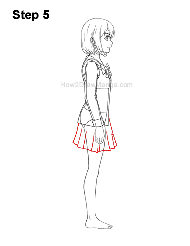 How to Draw a Manga Anime Girl Full Body Side View School Uniform Seifuku 5