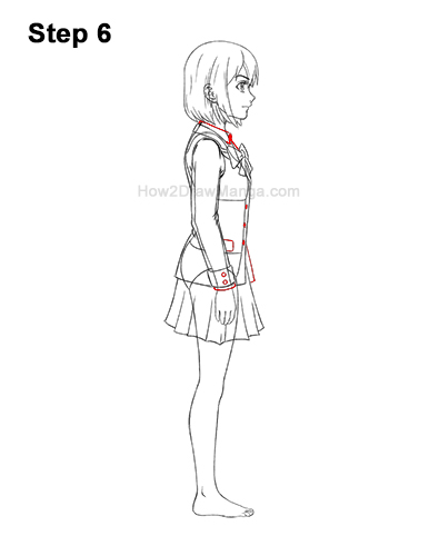 How to Draw a Manga Anime Girl Full Body Side View School Uniform Seifuku 6