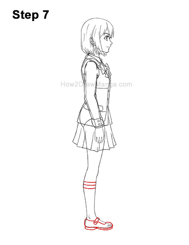 How to Draw a Manga Anime Girl Full Body Side View School Uniform Seifuku 7
