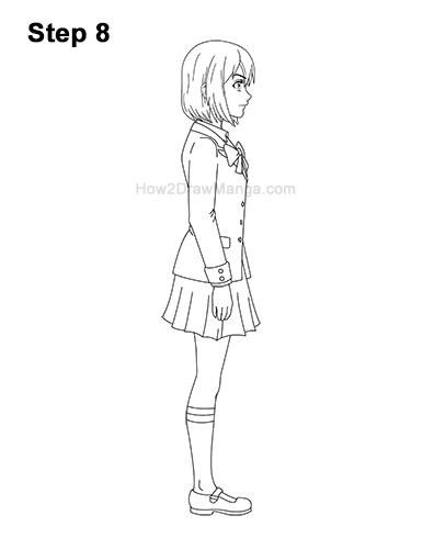 How to Draw a Manga Anime Girl Full Body Side View School Uniform Seifuku 8
