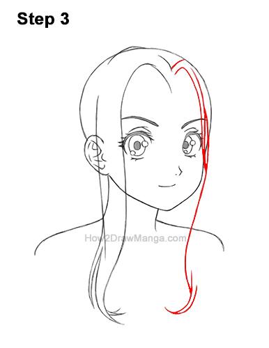 How to Draw Manga Girl Female Woman Long Hair Three Quarter 3/4 View Anime 3