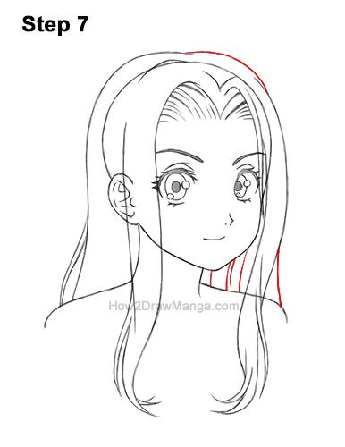 How to Draw Manga Girl Female Woman Long Hair Three Quarter 3/4 View Anime 7