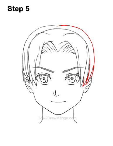 How to Draw Manga Anime Boy Male Man Parted Split Hair Front View 5