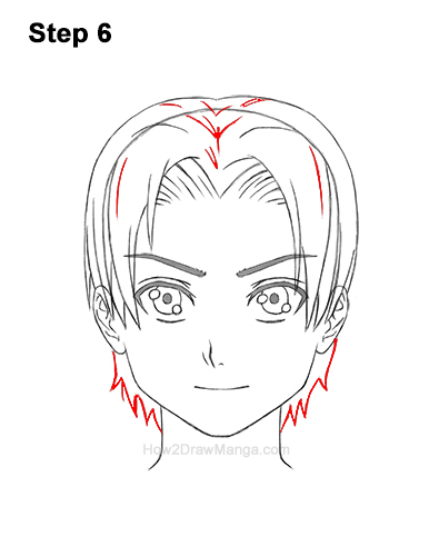 How to Draw Manga Anime Boy Male Man Parted Split Hair Front View 6