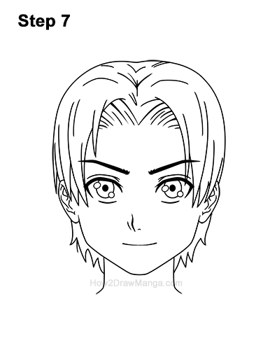 How to Draw Manga Anime Boy Male Man Parted Split Hair Front View 7