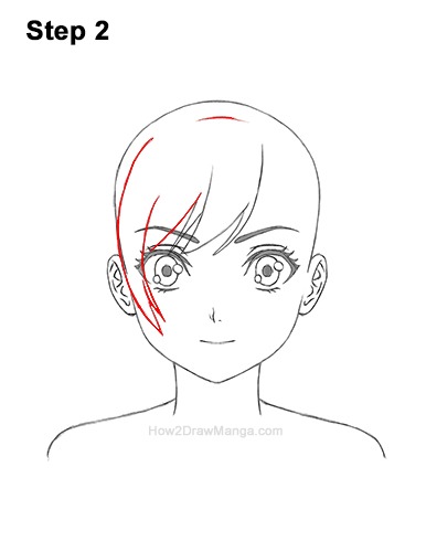 How to Draw Manga Girl Woman Ponytail Hair Front View Anime 2