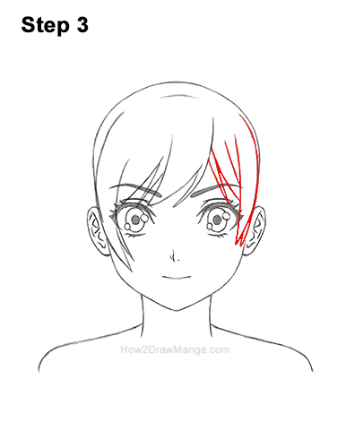 How to Draw Manga Girl Woman Ponytail Hair Front View Anime 3