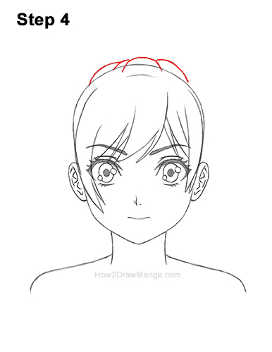 How to Draw Manga Girl Woman Ponytail Hair Front View Anime 4