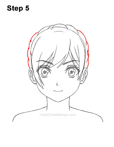 How to Draw Manga Girl Woman Ponytail Hair Front View Anime 5